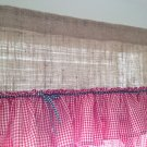 Handmade  Natural BurlapValance With Red Gingham 2tires Of Ruffles