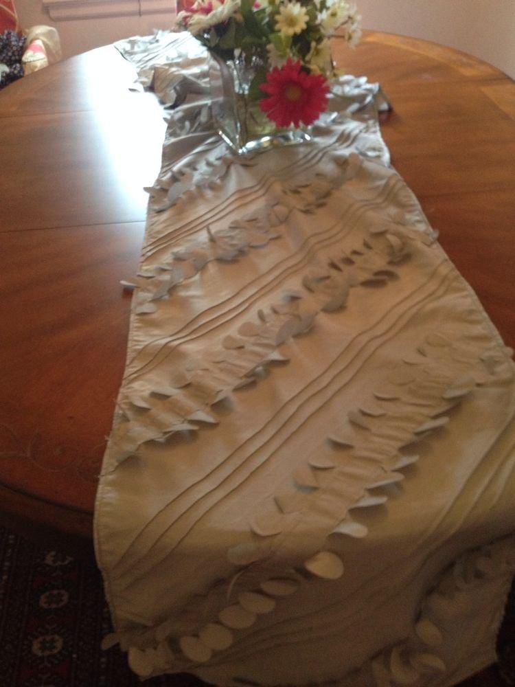 Handmade Gray, Silver Holidays Table Runner