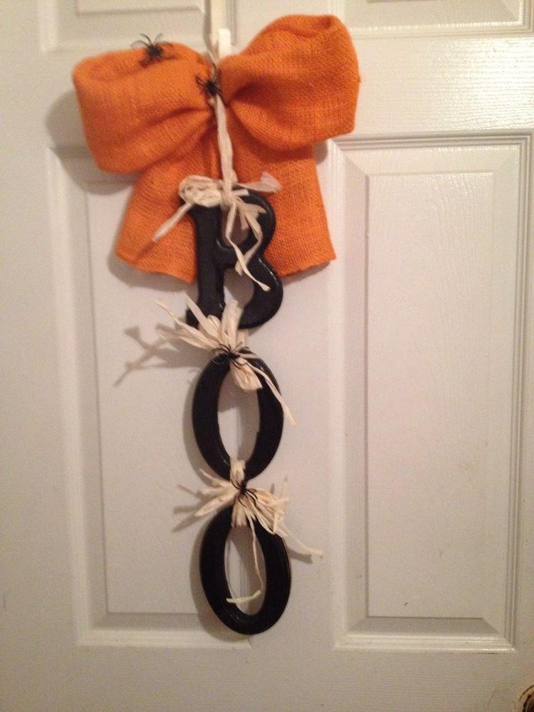 """Halloween """"BOO"""" Door Decoration-Handmade Country Look Hanger"""