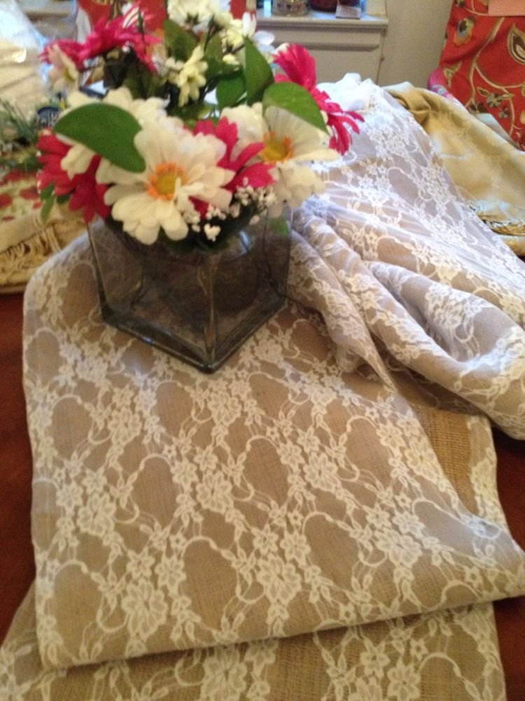 Handmade Natural Burlap Covered With White Lace Table Runner