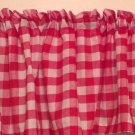 "Handmade Red Gingham Valance 98"" Wide16"" Long 100% Cotton"