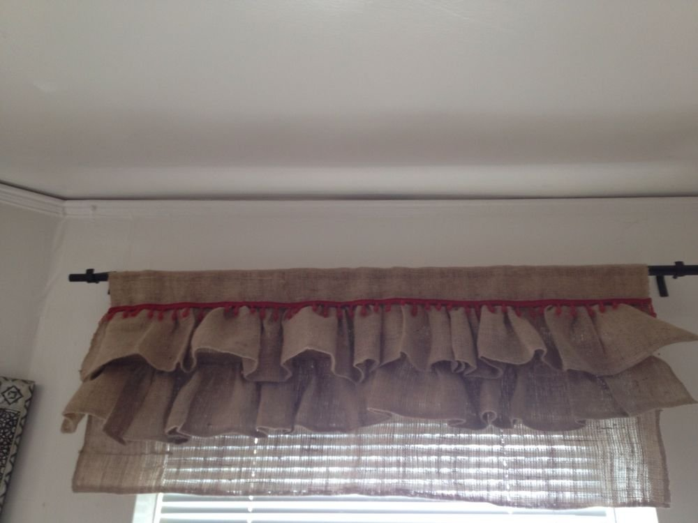 Handmade Natural Burlap Valance With 2 Tires Of Burlap Ruffles And Red Beads