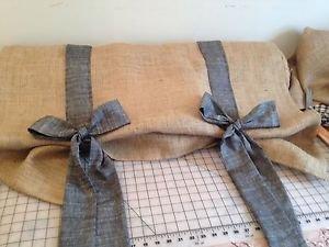 Handmade Tie Up Burlap Valance With Black Chambray Fabric