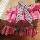 Natural Burlap Table Runber With 2 Red Gingham Ruffels