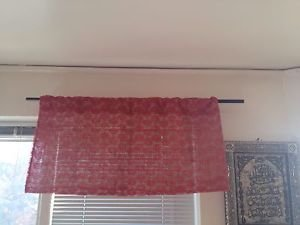 Habdmade Red Lace Covered Burlap  Valance