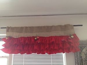 Handmade Christmas BurlapValance With 3 Tires Of  Red Ruffles And 6 Bells