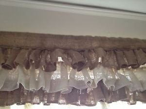 Handmade Natural Burlap Valance With 4 Tires Of Ruffles In 2 Shades Burlap