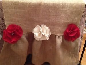Handmade Natural Burlap Table Runber With Ruffle And Roses