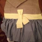 Natural Burlap Table Runber With 2 Black&whoteGingham Ruffels and Yellow Bow