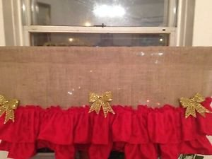 Handmade Christmas BurlapValance With  2tires Of  Red Ruffles Great For Holidays