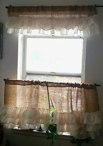 Handmade French Country Cafe Style  Burlap With 3 Ivory Tires Of Ruffles Set