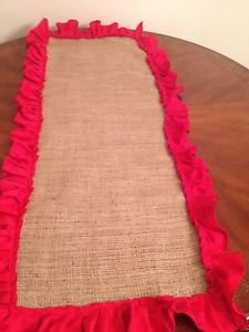 Handmade Burlap Table Top With Red Ruffles Great Table Setting