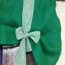 Green Handmade Burlap Valance