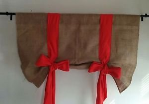 Handmade Tie Up Burlap Valance With Big Pumkin Colore Bow Happy  Fall'Y all