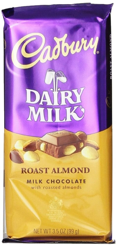Cadbury Premium Milk Chocolate with Roasted Almonds, 3.5-Ounce Bars (Pack of 14)