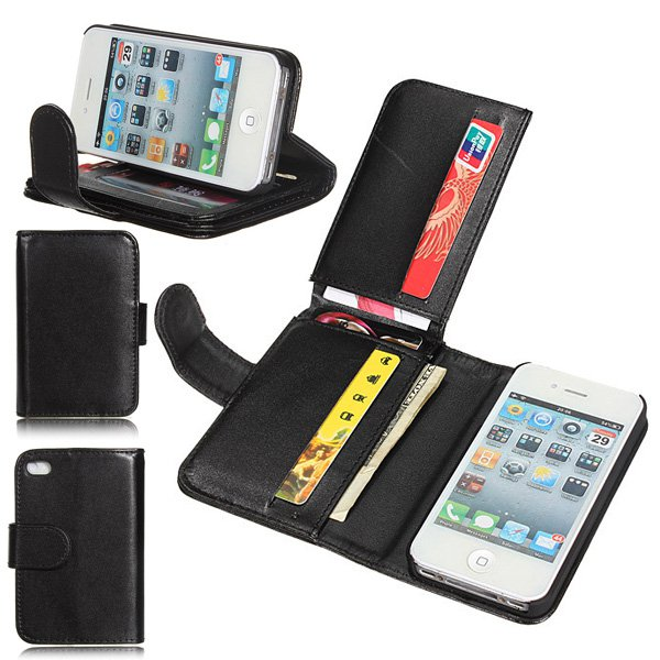 Card Holder Flip Wallet Leather Case Cover Skin For iPhone 4 4S