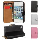 Flip Genuine Leather Wallet Case Cover Stand For iPhone 4 4G 4S