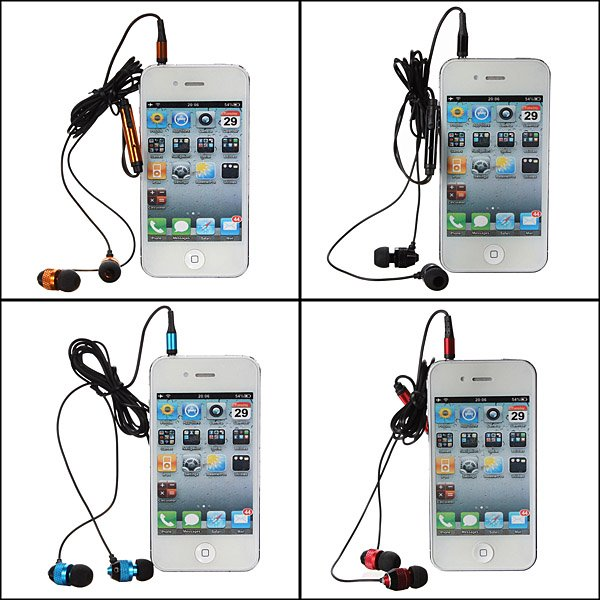 Metal Earphone Headphone Earbuds With Mic For iPhone Smartphone Device