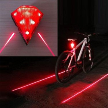 Bicycle Waterproof 3-Mode 8-LED Colorful Bicycle Laser Tail Light