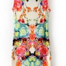 Vintage Sleeveless Round Neck Floral Dress