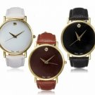 Simple Style No Dial PU Leather Woman Man Analog Watch