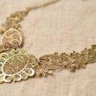 Vintage Flower Statement Choker Necklace Jewelry Bronze