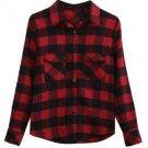 Black Red Plaid Checkered Pockets Shirt Blouse