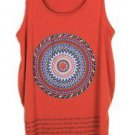 Women Printed O Neck Sleeveless Vest Loose T-shirt