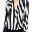 V Collar Long Sleeve Black White Stripe Chiffon