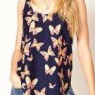 Sleeveless Butterfly Print Chiffon Vest Blouse