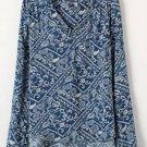 Vintage Floral Printed V-neck Loose Long Sleeve Blouse