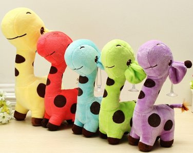 Cartoon Plush Giraffe Sika Deer Stuffed Toys Kids