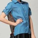 Lady Leopard Chiffon Shirt Denim Blouse