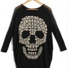 Black Bat Long Sleeve Skull Print Casual T-Shirt