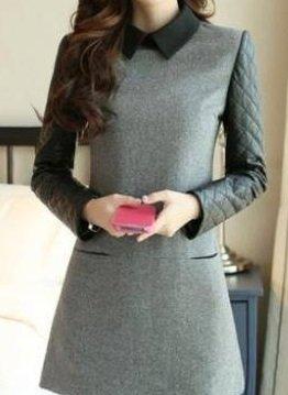 Women Gray Peter Pan Collar Pu Stitching Woolen Dress