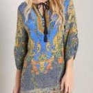 Casual Women Vintage Floral Print Loose Chiffon Beach Dress