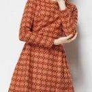 Orange Long Sleeve Back Zipper Houndstooth Round Neck Dress