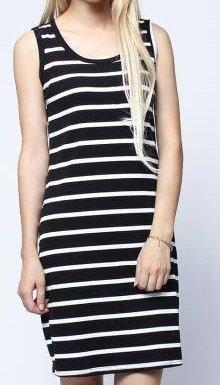 Women Black White Stripe Sleeveless Slim Knee Length T-shirt Dress