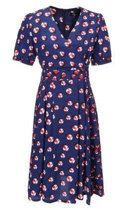 Women Floral Printing Pleated Dark Blue Puff Sleeve V-Neck Dress
