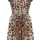 Leopard Printed Sleeveless Round Collar Dress