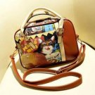 Women Vintage Cat Print Handbag Shoulder Bag