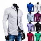 Mens Fashion Shirts Slim Fit Long Sleeve Casual Dress Tops