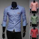 Hot Mens Western Grid Long Sleeves Casual Dress Shirts 4 Colors