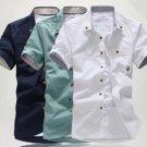 Men's Fashion Cotton Pure Color Short Sleeve shirt Sapphire