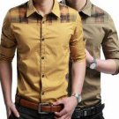 Mens Fashion Casual Slim Fit Long Sleeve Plaid Stitching Dress Shirt