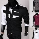 Men's Slim Fit Contrast Color Splicing Long Sleeve Fashion Shirts