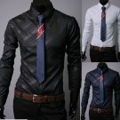 Mens Cotton Dark Denim Business Casual Long Sleeve Shirts