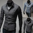 Mens Grid Stitching Shirt Fashion Color Casual Long-sleeve Shirt