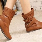 Ladies Flat Heel Vintage Buckle Ankle Motorcycle Boots