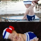 4PCS Baby Seaman Crochet Costume Photography Prop Clothes